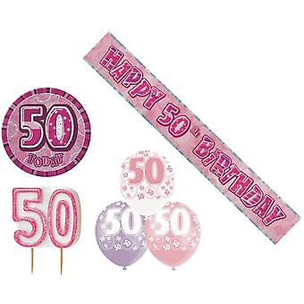 50th Birtday Decoration Pack BALLOONS BANNER CANDLE BADGE Party Decoration Pink