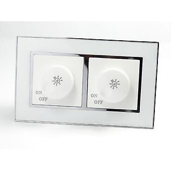 Ho LumoS come lusso specchio bianco vetro doppio telaio rotante interruttore Dimmer luce
