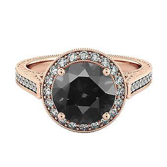 14k oro rosa 2,60 CTW Black Diamond Ring con diamanti Halo filigrana Vintage