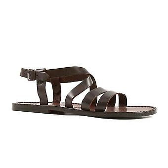 Handmade in Italy mens dark brown leather Franciscan sandals