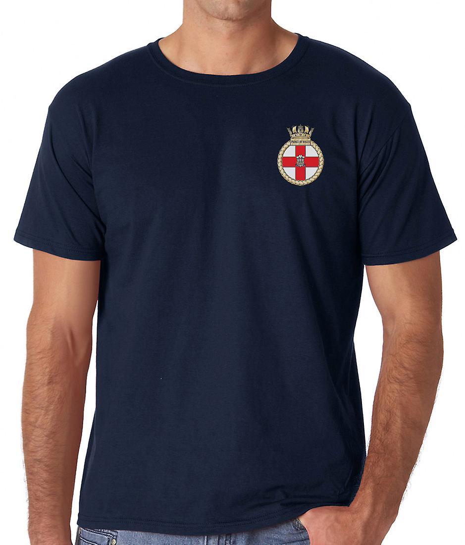 HMS Prince Of Wales broderad logo - officiell Royal Navy bomull T Shirt