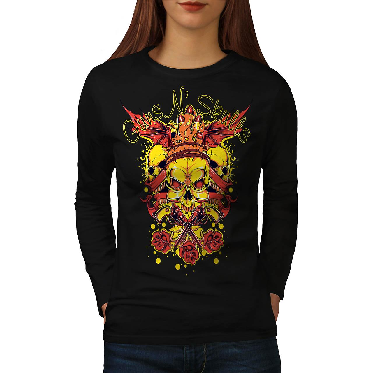 Guns And Skulls Brawl King Demon Women Black Long Sleeve T-shirt | Wellcoda