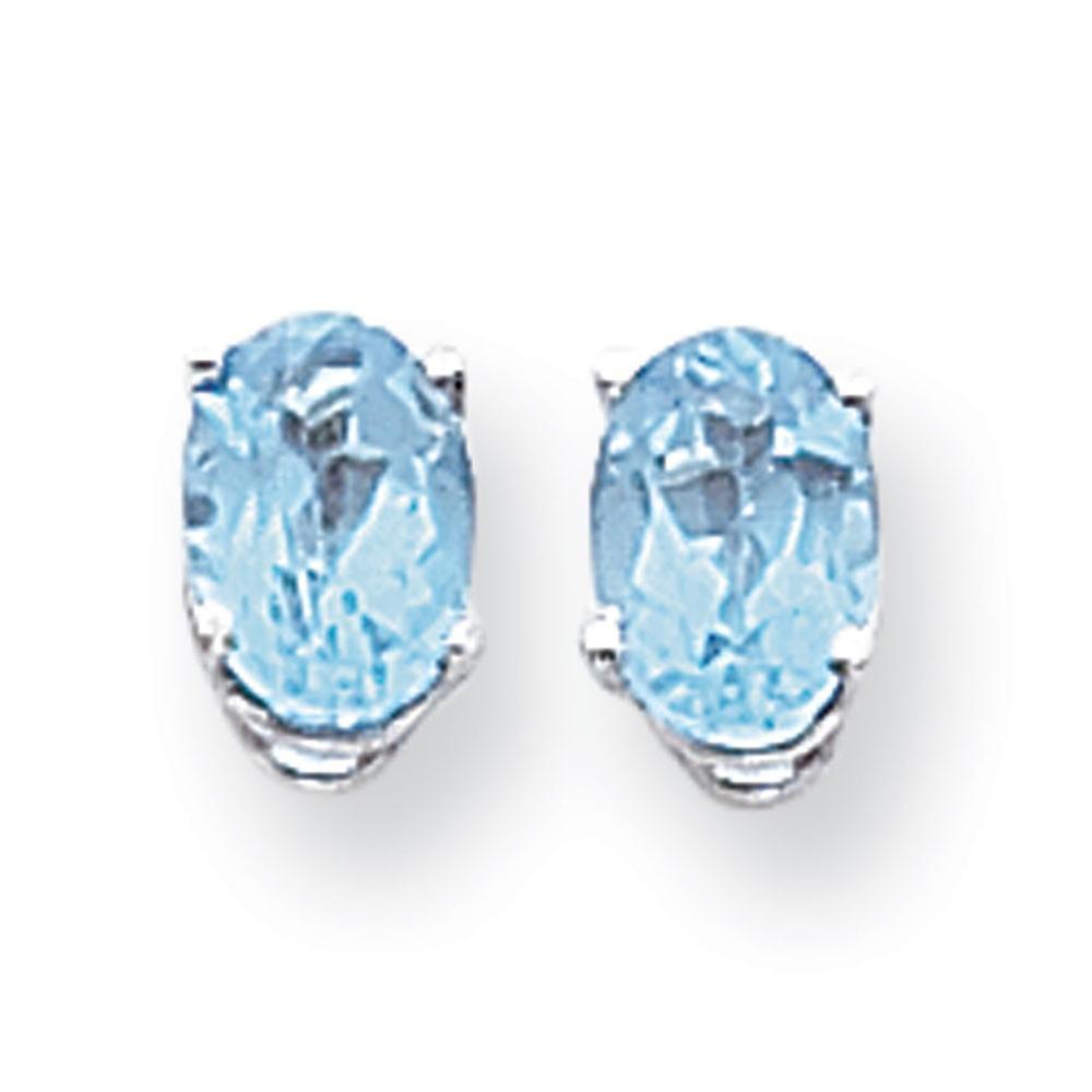 14k blanc or Polished Post Earrings 7x5mm Oval bleu Topaz Earrings - 2.00 cwt