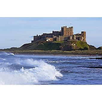 View From Ocean Of Bamburgh Castle PosterPrint