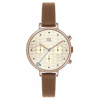 Orla Kiely Womans Tan Leather Rose Gold Plated OK2040 Watch