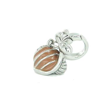 Fossil pendants charms JF87735040 snail glass block