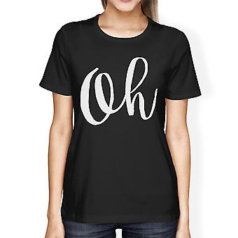 Oh Women's Black Shirts Funny Short Sleeve Crew Neck T-shirts