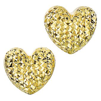 14k Gold Diamond Cut Puffy Heart Stud Earrings, 10 x 11mm