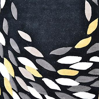 Swirl Black & Yellow Contemporary Rugs Carnival