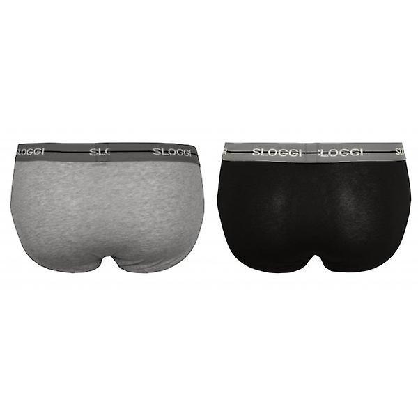 Sloggi 2-Pack Start Midi Briefs, Grey/Black