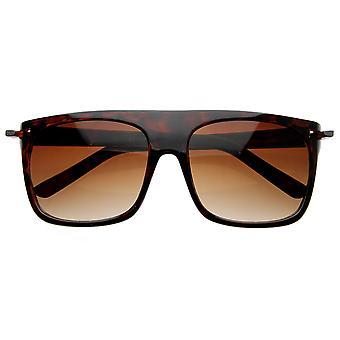 Vintage Inspired Flat Top Classic Retro Plastic Aviator Sunglasses