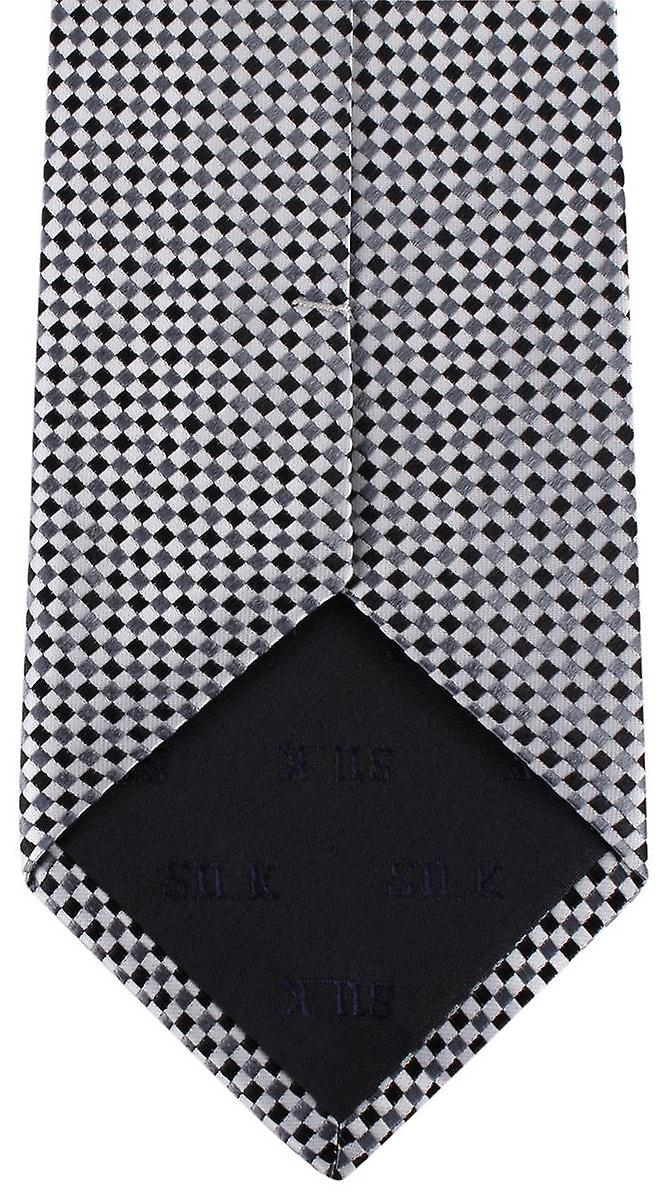 David Van Hagen Checked Tie - White/Grey/Black