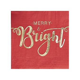 Gold Foiled Merry And Bright Paper Napkins - Red & Gold
