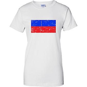 Russia Federation Distressed Grunge Effect Flag Design - Ladies T Shirt
