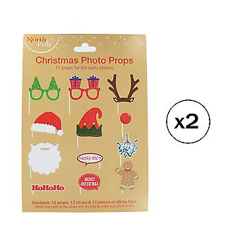 Christmas Photo Props - 12 Props for Fun Party Photos! Pack Of 2