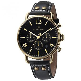 Investigatore Thomas Earnshaw Es-8001-01 oro & nero in pelle Cronografo Mens Watch Textured