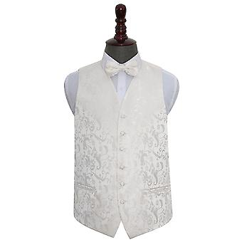 Ivory Floral Wedding Waistcoat & Bow Tie Set