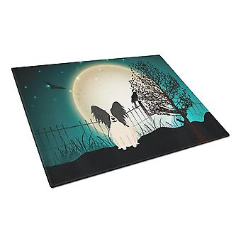 Halloween Scary Papillon Black White Glass Cutting Board Large