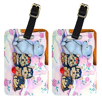 Carolines Treasures  7192BT Pair of 2 Yorkie Puppies three in a row Luggage Tags