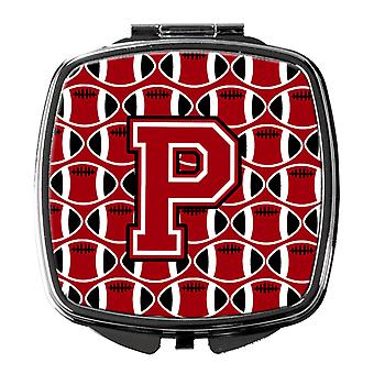 Letter P Football Red, Black and White Compact Mirror