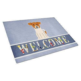 Jack Russell Terrier Welcome Glass Cutting Board Large