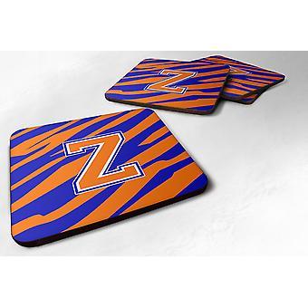 Set van 4 Monogram - Tiger Stripe - blauw oranje Foam Coasters eerste Letter Z