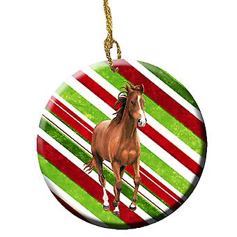 Horse Candy Cane Holiday Christmas Ceramic Ornament