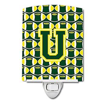 Letter U Football Green and Yellow Ceramic Night Light