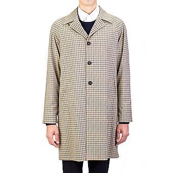 Prada Herren wasserdichte Tecno Trench Coat Jacke Checker Kamel Olive