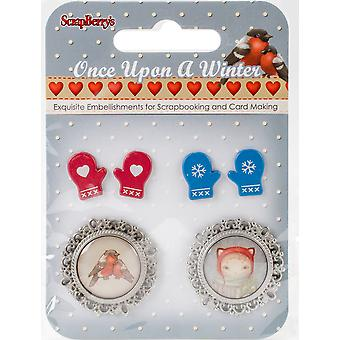 ScrapBerry's Once Upon A Winter Metal/Epoxy Embellishments-#4, 2 Pairs Of Mittens & 2 Cameos 340999