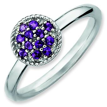 Sterling Silver Stackable Expressions Amethyst Rhodium Ring - Ring Size: 5 to 10