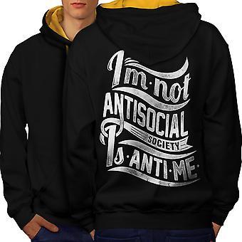 Pas Antisocial hommes drôles Cool noir (capot or) contraste Hoodie dos | Wellcoda
