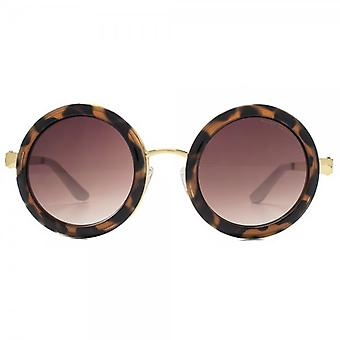 Kurt Geiger Jane Super Round Sunglasses In Honey Tortoiseshell