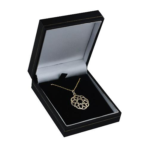 9ct Gold 22mm round Celtic knot design with Cable link chain