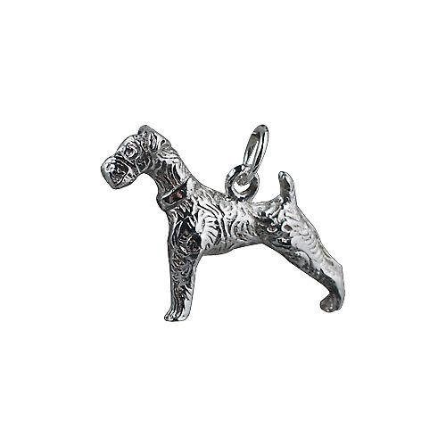 Silver 19x22mm Airedale terrier Pendant or Charm