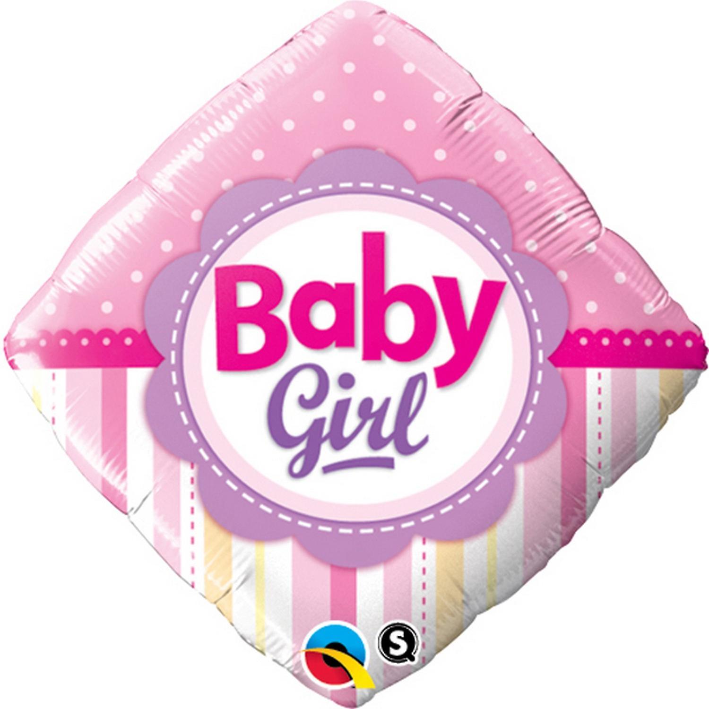 Qualatex 18 Inch Baby Boy/Girl Dots & Stripes Diamond Shaped Foil Balloon