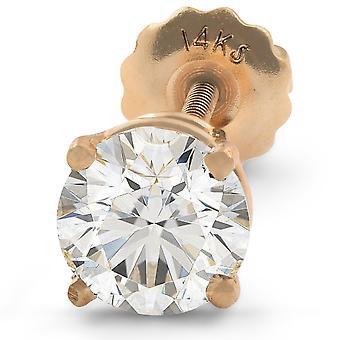 1 ct Single Diamond Stud Screw Back 14k Yellow Gold Enhanced