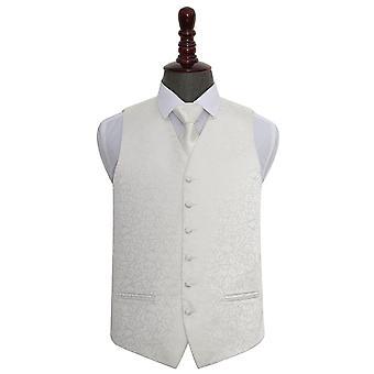 Colete de casamento marfim redemoinho & conjunto de gravata