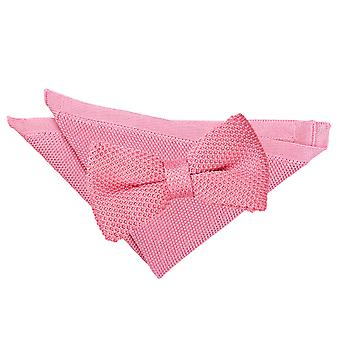 Strawberry Pink Knitted Bow Tie & Pocket Square Set