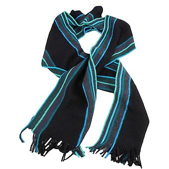 Bassin and Brown May Stripe Wool Scarf - Black/Mint/Turquoise