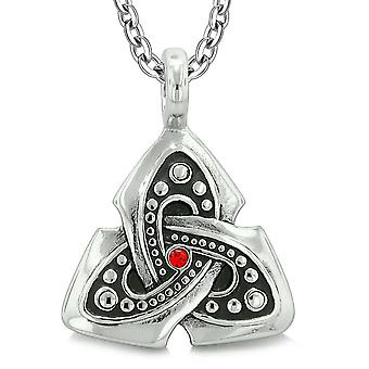 Ancient Viking Celtic Triquetra Knot Amulet Protection Powers Royal Red Crystal Pendant Necklace