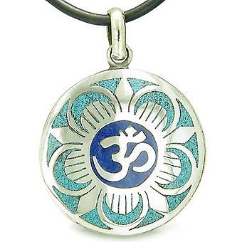 Amulet gamle OM og magiske Lotus tibetanske Symbol turkis Lapis Lazuli Medallion vedhæng halskæde