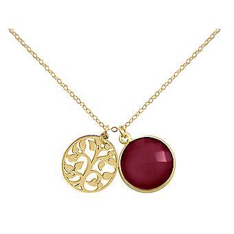 Gemshine - Damen - Halskette - Anhänger - LEBENSBAUM - 925 Silber Vergoldet - Rubin - Rot - 45 cm