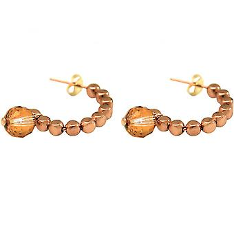 Gold Orange - 3 cm gold plated ladies - earrings - rose - loop-