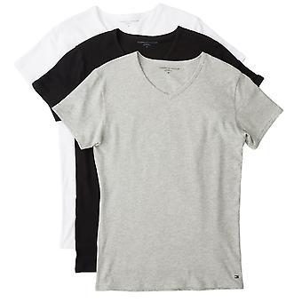Tommy Hilfiger Premium väsentliga V Neck T-shirt 3 Pack - svart/vit/grå