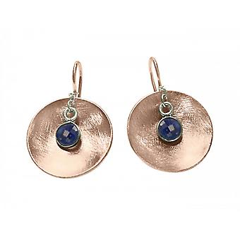 Ladies earrings 925 Silver rose gold plated shell sapphire blue 3 cm
