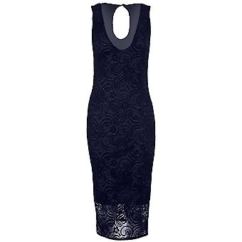 Ladies Sleeveless Plunge V Neck Glitter Lace Overlay Lined Bodycon Midi Dress