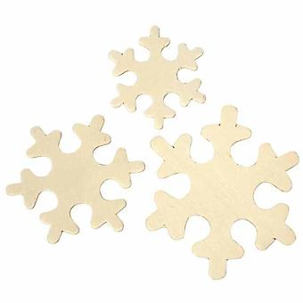 60 Assorted Wood Snowflake Shapes for Christmas