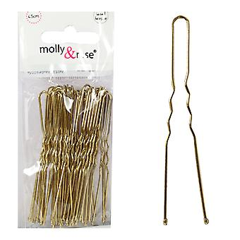 Molly & Rose Gold Waved Hair Pins 36 Pack x 3