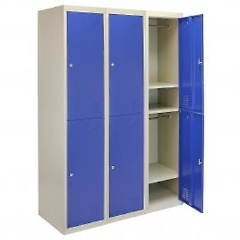3 x Metal Storage Lockers - Two Doors, Blue